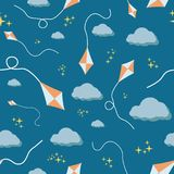 seamless colorful kites, clouds and stars night patern texture element vector illustration