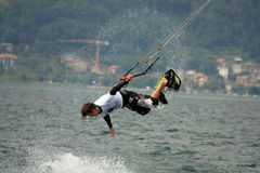 Kite nosegrab. International competition of freestyle Kiteboard Pro World Tour 2008 Royalty Free Stock Image