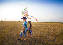 Kite Playing Activity Brother Sister Togetherness Concept Royalty Free Stock Photos