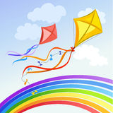 Kite with rainbow and clouds. Vector illustration stock illustration