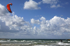 Kite Sailing on the Mediterranean Sea. This shot was taken on The Tel Aviv beach Royalty Free Stock Images