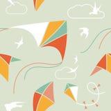 Kite Seamless. Seamless pattern with kites and birds Stock Image