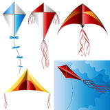 Kite set. With different designs isolated on white and on sky Royalty Free Stock Image