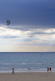 Kite in the shape of ship on seacoast Royalty Free Stock Image