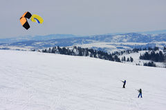 Kite skiers Stock Photography