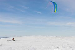 Kite-skiing Royalty Free Stock Photo