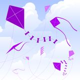 Kite sky. Kites flying against a cloudy sky (kites are removable and editable in vector version Royalty Free Stock Images