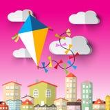 Kite on Sky Vector Cartoon Royalty Free Stock Photography