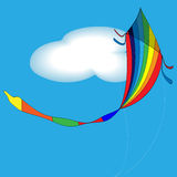 A kite in the sky. Vector illustration of rainbow colored kids toy - kite in the summery sky Stock Photo