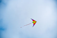 Kite soars in the sky.  Royalty Free Stock Images