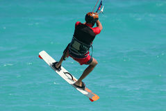 Kite spin 4. Kite surfer spins in the air stock photo
