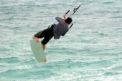 Kite Spin. Kite surfer spins in the air Stock Image