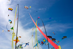 Kite and stripes. Colored kites and stripes in the sky at  international kite festival Stock Images