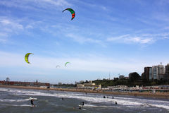 Kite Surf 1. People doing kite surf on Mar del Plata's beach stock photos