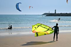 Kite Surf. Ers at the beach Stock Image