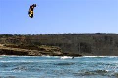 Kite surf. Ing at capo mannu bay royalty free stock image