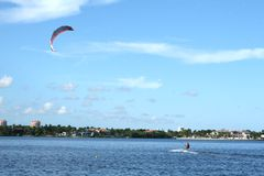 Kite Surf. Ing in the afternoon Royalty Free Stock Photos