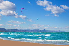 Kite surf in Denia Oliva Gandia in Valencian Community Stock Photo