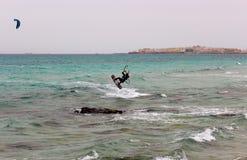 Kite surf. A man doing kite surf Stock Photo
