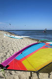 Kite surf sail on the beach Royalty Free Stock Photos