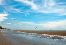 Kite surf on the sea side Royalty Free Stock Image