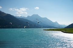 Kite surf in Silvaplana Stock Photography