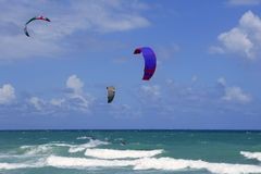 Kite surf water sports in Florida Miami beach Stock Photography