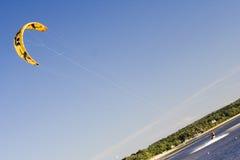 Kite Surfer. Off the beach on Long Island, NY royalty free stock photos