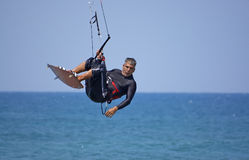 Kite-surfer. On a beach of Mediterranean Sea Stock Images