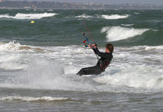 Kite Surfer. With coastal backdrop Royalty Free Stock Images