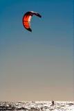 Kite surfer. Evening bright sun Stock Images