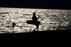 Kite surfer. On the beach of terracina, italy Royalty Free Stock Image