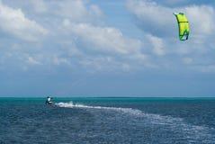 Kite Surfer. Male Kite surfer enjoying his sport in Grand Cayman Stock Photos
