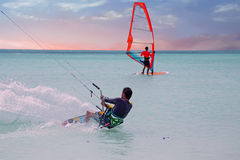 Kite surfer on Aruba in the Caribbean at sunset Stock Image