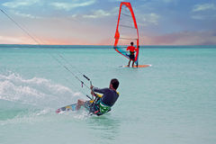 Kite surfer on Aruba in the Caribbean at sunset Stock Photo
