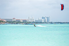 Kite surfer on Aruba island in the Caribbean Stock Image
