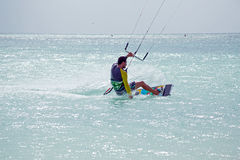 Kite surfer on Aruba island in the Caribbean Stock Photography