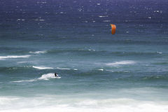 Kite surfer in Atlantic Ocean stock images