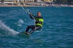 Kite surfer on the beach in Costa Brava town Palamos of Spain. 10. 03. 2018 Spain stock photos