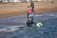 Kite surfer on the beach in Costa Brava town Palamos of Spain. 10. 03. 2018 Spain royalty free stock photos