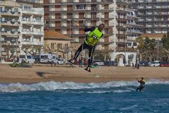 Kite surfer on the beach in Costa Brava town Palamos of Spain. 10. 03. 2018 Spain stock images