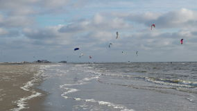 Kite Surfer on the Beach of St. Peter-Ording stock video footage