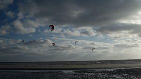 Kite Surfer on the Beach of St. Peter-Ording stock footage