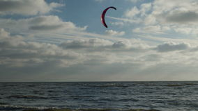 Kite Surfer on the Beach of St. Peter-Ording stock video