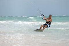 Kite surfer in Caribbean. Kite surfer in beautiful Caribbean sea Royalty Free Stock Photos