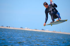 Kite surfer catching air Royalty Free Stock Photography
