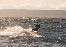 Kite surfer changing course with the wind Royalty Free Stock Photography