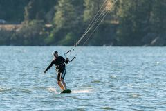 Kite surfer on the Columbia river stock images