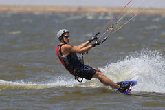 Kite surfer enjoying the hot summer days in Oklahoma Royalty Free Stock Image