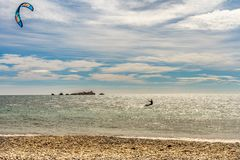 Kite surfer on french riviera in saint raphael, france royalty free stock photos